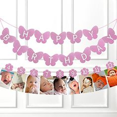 Happy Birthday Glitter Purple Butterfly 3D Banner With Fl...