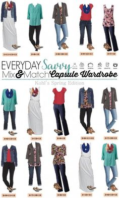 Kohls spring capsule wardrobe. This capsule includes two fun floral tops, a dress, distressed jeans and more. These pieces all look great together and can take you to almost any occasion. Have style the easy way.