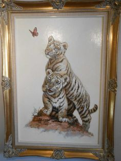 Stunning Original Oil on Canvas of 2 Tiger Cubs By Prolific Artist Silvia Duran   eBay