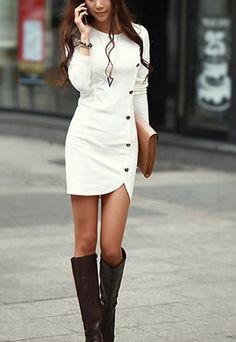 Vestido Moda Cuello Redondo Color Sólido De Manga Larga Mini-Vestido White for big sale!