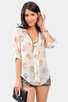 7ca199a1ca5c Dotted Skull Blouse - Ivory Dark Fashion