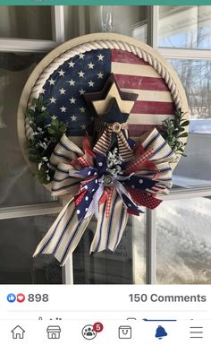 4th July Crafts, Fourth Of July Decor, 4th Of July Decorations, Patriotic Crafts, 4th Of July Wreath, Summer Crafts, Holiday Crafts, Holiday Decor, Memorial Day Celebrations
