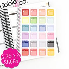 This set includes 24 pale daily chore life planner stickers in the colors shown. They will be one sheet of matte finished stickers individually die-cut, ready to peel off and stick onto your planner or calendar!  These are a perfect fit for the Erin Condren Planner!  The sticker sheet is 6.25x8  Best pen to use is a fine tip sharpie marker!  These stickers are removable and repositionable!!!  Thank you for shopping at Libbie and Co