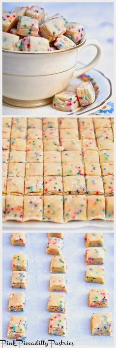 Pink Piccadilly Pastries: Fairy Bites - A Sweet Little Treat Fairy Bites Land O'Lakes 1/2 cup butter, slightly softened 1/4 cup sugar 1/4 tsp almond extract 1 1/4 cup AP flour 1/4 tsp salt 4 tsp multi-colored nonpareils