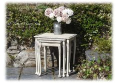 Hand painted Shabby Chic Vintage Nest Of Three Tables