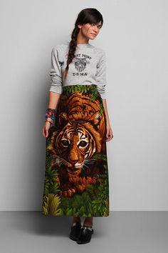 Vintage '70s Tiger Print Skirt #urbanoutfitters #vintage