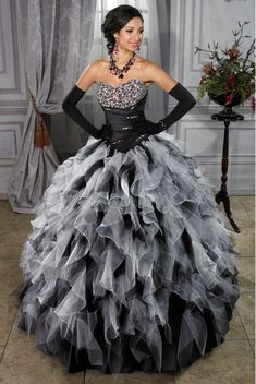 Black And White Ball Gowns | ... ball gowns sweetheart neck floor-length black and white quincenera