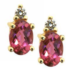 Pink Tourmaline and Diamond earrings | #gift #14ktyellowgold | Hannoush.com