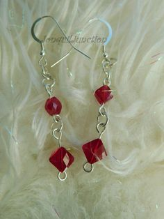 Swarovski crystal earrings, Red beaded earrings,sterling silver earrings,Swarovski earrings,red & silver earrings,handmade earrings,earrings