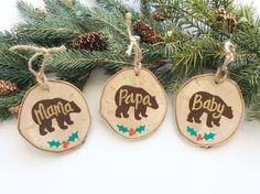 Mama Bear Ornament Wood Slice Ornament Family by AmandaKammarada