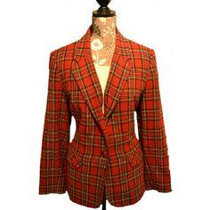 SAG HARBOR PLAID BLAZER Gorgeous Plaid blazer, Red Yellow Black, White, Sag Harbor Jackets & Coats Blazers