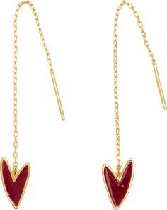 Make-Up Burgundy Red Thread Earring, Gold Vermeil Heart Earrings, Dangle Earrings, Cleaning Silver Jewelry, Heart Shapes, Sterling Silver Jewelry, Fine Jewelry, Toy, Burgundy, Jewels