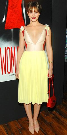 I am not crazy about the neckline, but the color combination is nice - blush, citron, and red