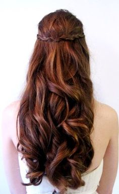 Bride's long half up waterfall wedding hair ideas Toni Kami Wedding Hairstyles ♥❸ Bridesmaids prom