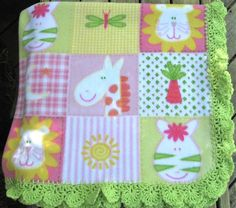 Fleece Baby blankets with crochet trim