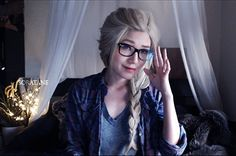 hipster Elsa. This girl actually LOOKS more like Elsa (aside from the glasses/outfit of course) than any other girls I've seen who try to look like her.