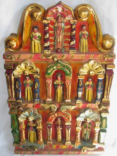 Mexican Folk Art -LG HandCarved Retablo Altar - Virgin Guadalupe with Saints