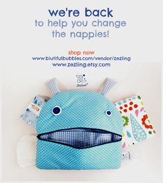 Zezling!'s nappy monsters! useful for storing wipes, diapers, pajamas and clothes, it turns into a decorative pillow! Buy at www.biutifulbubbles.com/vendor/zezling
