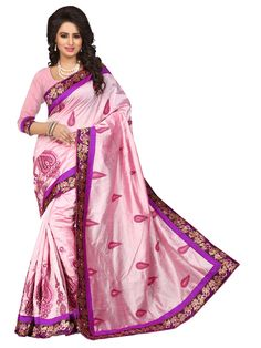 Pink Chanderi Silk Saree With Blouse 70720