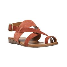 Women's Sarto by Franco Sarto Gia Slingback ($69) ❤ liked on Polyvore featuring shoes, sandals, casual, casual shoes, slingback sandals, flat leather sandals, toe-ring sandals, leather toe ring sandals and leather gladiator sandals
