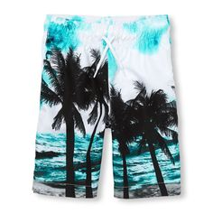 Check out The Children's Place for a great selection of kids clothes, baby clothes & more. Shop at the PLACE where big fashion meets little prices! Kids Bathing Suits, Palm Trees Beach, Big Fashion, Swimsuits, Swimwear, Swim Trunks, Tween, Boy Outfits, Boys
