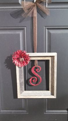 Barn wood, picture frame, initial door wreath! Perfect for anytime of year. on Etsy, $20.00