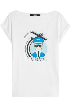 KARL LAGERFELD Printed T-Shirt With Cotton. #karllagerfeld #cloth #