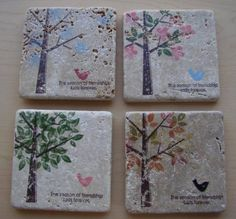 tiles/coasters using SU's Season of Friendship set...