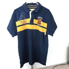 Aeropostale Navy & Gold Rugby Patch Short Sleeve Men's XL Polo #aeropostale #rugby #preowned #mens #menswear #mensfashion #shirt #style #fashion #ebay #freeshipping #casualshirt #poloshirt #polorugby