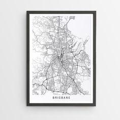 Brisbane Minimalist Map Print