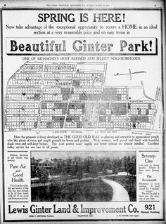 """This 1907 ad for the Lewis Ginter Land & Improvement Company claims that Ginter Park has """"Highest elevation of any suburb, thus ensuring pure air and good health."""" Note how few lots have houses, and that the trolley goes up Chamberlayne Ave, turning West on Laburnum Ave and crossing Brook """"Turnpike."""""""