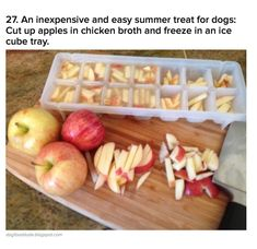 Hacks Freeze apple slices in chicken broth for a cool treat for your dog on a hot summer's day. Button will go nuts for these.Freeze apple slices in chicken broth for a cool treat for your dog on a hot summer's day. Button will go nuts for these. Dog Treat Recipes, Dog Food Recipes, Dog Biscuit Recipes, Food Dog, Puppy Food, Freezing Apples, Puppy Treats, Homemade Dog Treats, Summer Treats