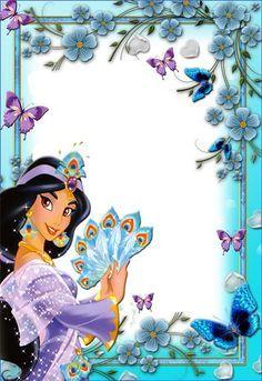 Jasmine Disney Jasmine, Frames Png, Scrapbook Da Disney, Aladdin Party, Disney Frames, Photo Frame Design, Family Photo Frames, Princess Pictures, Birthday Frames