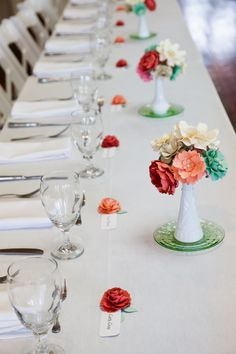 paper flower centerpieces and place cards by Dragonfly Expression - photo by Cargile Photography - Brenham, TX