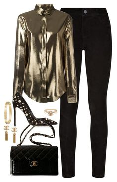 """""""Untitled #4545"""" by magsmccray on Polyvore featuring Paige Denim, Yves Saint Laurent, Dune Black, Chanel and Cartier"""