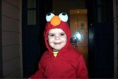 Elmo costume...red sweatsuit, styrofoam balls and paint. I might sew on some fuzzy yarn to make it fuzzy like Elmo...