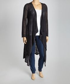 Layers are lovely and contribute more than warmth to an ensemble. Add an extra layer of style and texture with this chic open cardigan, the perfect accessory for any season. Measurements (size 2X): 49'' long from high point of shoulder to hem96% polyester / 4% spandexHand washMade in t...