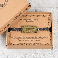 Give, Laugh, Love Bracelet - Think Happy. Be Happy.