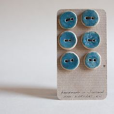 set of six BLUE ceramic BUTTONS, small,round and flat, handmade in Ireland by… Ceramic Jewelry, Ceramic Beads, Clay Beads, Clay Jewelry, Ceramic Pottery, Ceramic Art, Button Cards, Ceramic Techniques, Craft Sale
