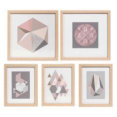 5 tableaux en bois GRAPHIC LINES