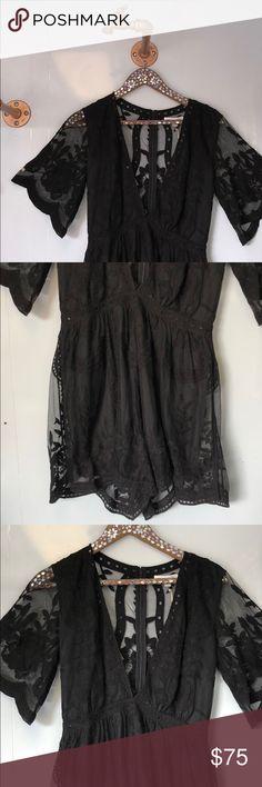 490b1a99492 Honey punch black lace deep v neck romper short