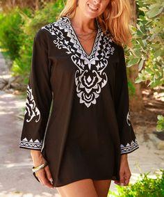 Black & White V-Neck Tunic
