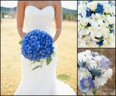 """THIS BOUQUET! So pretty for your something blue"""" Vivid blue hydrangea wedding bouquet. (In season during the summer months when they are their most affordable) Hydrangea Bridal Bouquet, Hydrangea Bouquet Wedding, Wedding Flowers, Bridal Bouquets, Bouquet Flowers, Bridesmaid Bouquet, Blue Wedding Bouquets, Single Flower Bouquet, Wedding Dresses"""