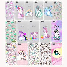Cute Cartoon Unicorn Hard Transparent Cover Case for Huawei P9 Lite Plus P8 Lite P7 6 G7 & Honor 4C 4X 6 7