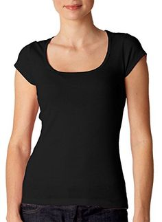 2bb713c7958 Bella Womens Margot sheer Scoop Neck Cap Sleeve T Shirt BLACK Medium ** See  this