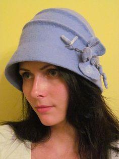 """Шляпка валяная""""Адель"""" - Валяние,валяная шляпка,шляпка-клош,клош,небесно-голубой"""