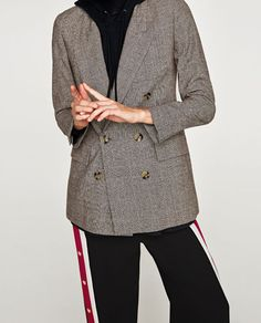 CHECKED DOUBLE BREASTED JACKET-BLAZERS-WOMAN | ZARA United States