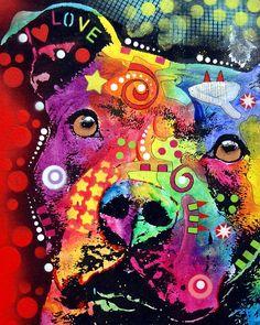 Pit Bull Framed Prints - Thoughtful Pitbull LOVE Framed Print by Dean Russo Pop Art, Graffiti, Art Pictures, Photos, Dean Russo, Pit Bull Love, Arte Popular, Love Painting, Bull Painting