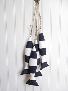 Nautical Curtain Tie Backs  Navy and White by CatherinePicone, $22.00