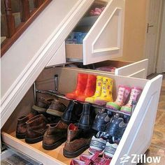 Pull out drawers underneath steps.